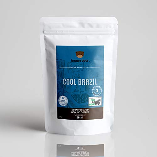 Brown Bear Cool Brazil Entkoffeiniert Gemahlener Kaffee, Swiss Water Decaf, 227 g Decaffeinated Ground Coffee, 5 % der Verkäufe werden an die gemeinnützige Einrichtung Free the Bears