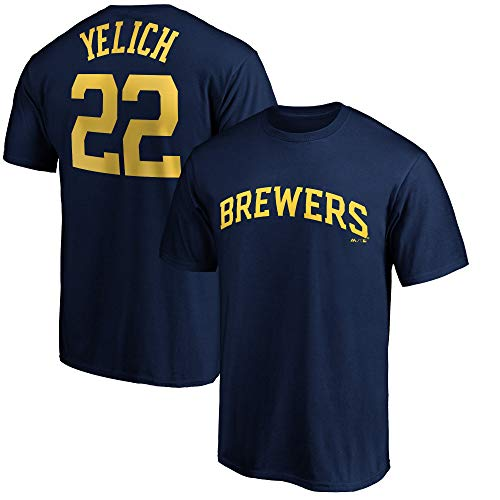 Outerstuff MLB Youth Performance Team Color Player Name and Number Jersey T-Shirt (Large 14/16, Christian Yelich Milwaukee Brewers)