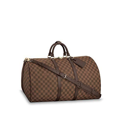 Louis Vuitton Luggage Travel Bag Damier Ebene Keepall Bandouliere (Keepall 55)