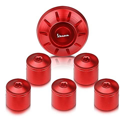 Reunion Ajuste para Piaggio Vespa GTS Sprint Primavera LXV LX 125 150 200 250 300 Tapacubos decorativo con tornillo lateral GTS250 GTS300 (color: rojo)
