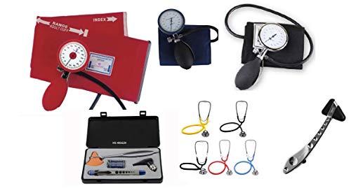 Kombi-set Stethoskop, Reflexhammer, Palm-Blutdruckmessgerät, Penlight und Otoskop (rot)