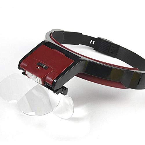 Vergrößerungslinse mit Luce - Sonnenbrillen größeres Bild Professional für Modellierung, Reparatur Uhren, Stickerei, Zahnarzt - 4 Wechselobjektive,Schwarz