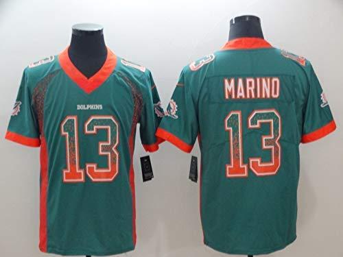 LAMBO NFL Fußballtrikot Miami Dolphins # 13 US Style Besticktes Fußballtrikot Kurzarm Sport Top T-Shirt (B-13,XXL)