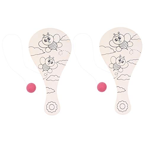 Amosfun Juego de Pelota de Paleta de Madera para niños, Juego de Bolas de Raqueta, Paleta de Pintura DIY para jardín de Infantes, Juego de Juego de Relleno de Graffiti, 2 Piezas