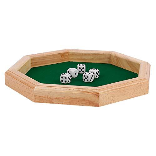 ikasus Bandeja octogonal de madera para dados de alta resistencia, octogonal con superficie de fieltro forrada para juegos de mesa