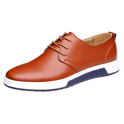 Sannysis Casual Leder Herren Schuhe Business Halbschuhe Zum Schnürer Anzugschuhe Oxford Lederschuhe Wasserdicht Flache Schnürhalbschuhe Männer Größe 38-47