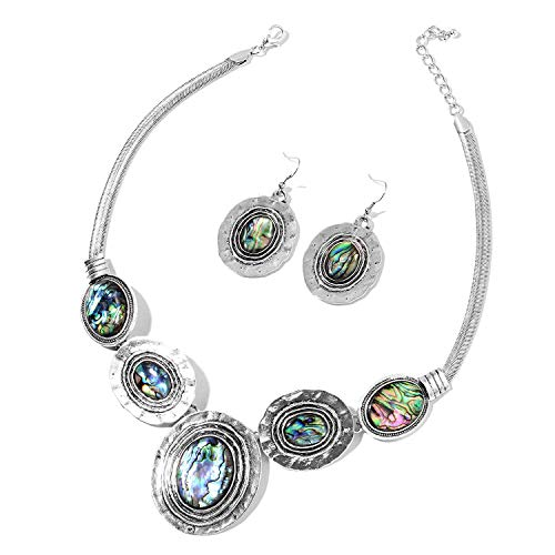 Abalone Shell Hammered Dangle Earrings Necklace 18-20 Silvertone Fashion Jewelry for Women Mothers Day Gifts