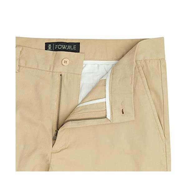 Fowjile Men's Slim-Fit Stretch Chino Workday Khaki Pants Comfort Casual Chino Pants for Men