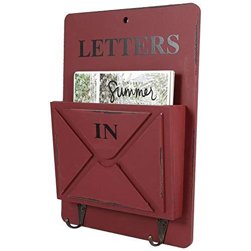 Asixx Zeitungshalter Wand, Post Halter Dekoratives Wandregal aus Holz und Eisen für die Aufbewahrung von Briefen, Postkarten, Zeitungen usw, 18 x 4,2 x 26 cm(Rot)