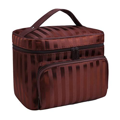 Trousse de toilette imperméable à rayures pour sac à cosmétiques portable pour voyage (café)