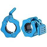 MoKo Barbell Abrazaderas, Topes de Pesas Liberación Rápida de Bloqueo Professional Cerraduras de Barra de Peso para Fitness y Entrenamiento de Fuerza, 1 Par, Azul Claro