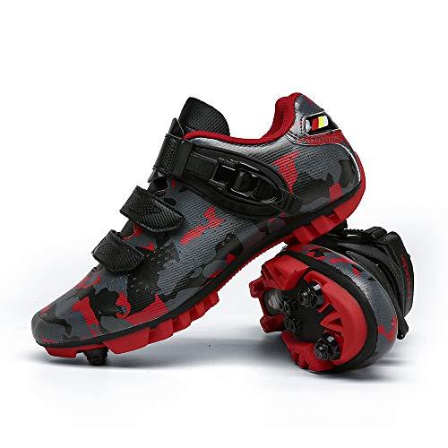 JQKA Calzado de Bicicleta de Carretera con Autobloqueo, Calzado Deportivo de MTB Transpirable, Calzado de Ciclismo y Senderismo con AmortiguacióN Antideslizante(Size:40,Color:Rojo)