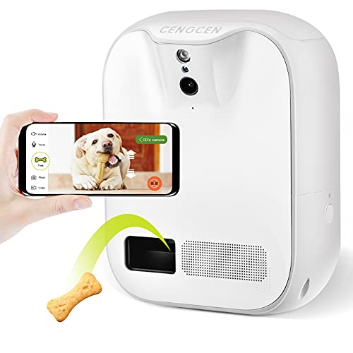 CENGCEN Pet Camera Treat Dispenser, 5G Wifi, Two-Way Audio Pet Camera 130°Field of View, Full HD 1080P, Night Vision, Wall Mounting Cat and Dog Camera with Phone APP and Audio Android / IOS Compatible