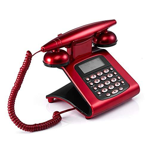 WSZMD Teléfono Pared Retro Teléfono Fijo con Cable De Antigüedades Fijo Fijo Retro Teléfono Dial DIAL DISETRATIVO para LA Familia CASA Teléfono Retro Red (Color : Red)