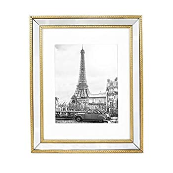 Isaac Jacobs 11x14  Matted 8x10  Gold Mirror Bead Picture Frame - Classic Mirrored Frame with Dotted Border Made for Wall Display Photo Gallery and Wall Art  11x14  Matted 8x10  Gold