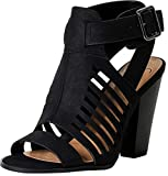 Delicious Yummy Cutout Stacked Heel Sandal Shoes (Black, numeric_9)