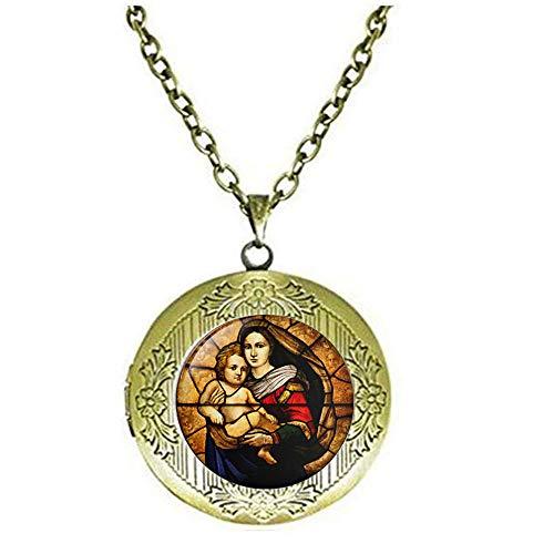 Virgen María y Niño Vidriera Vidrio, Joyería Cristiana, Regalos Cristianos, Virgen María camafeo Collar,Bebé Jesús Joyería