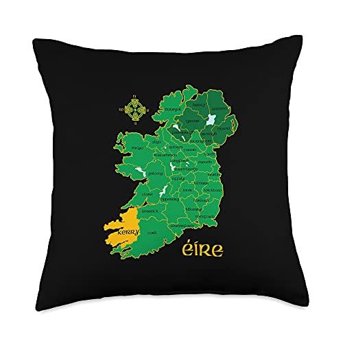 Irish Heritage Celtic Gifts Kerry Ireland County Map Eire Irish Travel Throw Pillow, 18x18, Multicolor