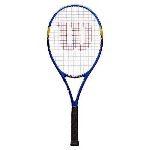 Wilson Raqueta de Tenis, US Open, Unisex, Principiantes y Jugadores intermedios, Negro/Blanco/Azul, Tamaño de empuñadura L3