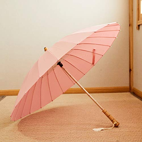 Hwjmy Paraguas largo retro simple para hombre y mujer con diseño de concha antigua para paraguas (color rosa, tamaño: 100 cm)