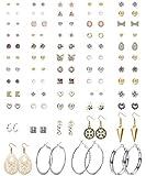 CASSIECA 59 Pairs Assorted Stud Earrings Set Multiple Simple Cute Dangle Hoops Earrings Set for Women Ball Studs Mixed Boho Jewelry Set