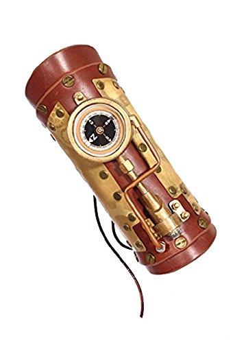 RQ-BL Brazalete de piel Steampunk con cordones, brújula e iluminación, color marrón claro
