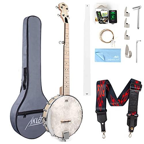 5 String Banjo, AKLOT Adjustable Full Size Maple Banjo Open Back Remo Head with 2...