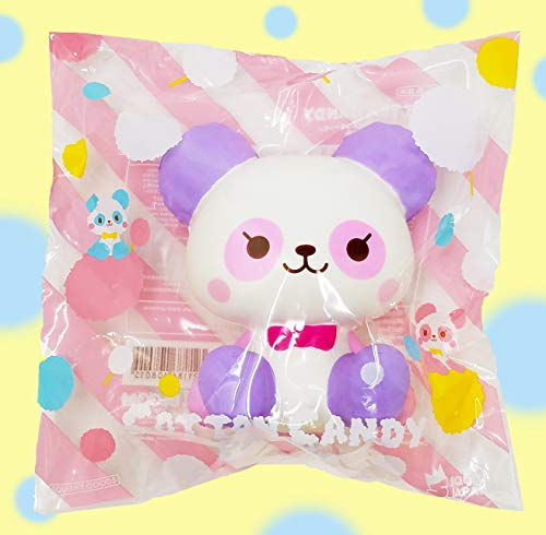 ibloom Cotton Candy Panda Slow Rising Cute Animal Squishy Toy (Melody, Purple & White, Grape Scented, 4.5 Inch) [Birthday Gift Box, Party Favors, Gift Basket, Stress Relief Toys for Kids, Adults]