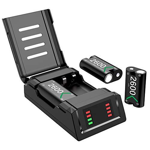 Batería de Controlador para Xbox One Series X S, Mando Cargador 3x 2600 mAh Recargable Battery Pack Accesorios para Xbox One/ Xbox One S/Xbox One X/Elite/Xbox Series X S Controller