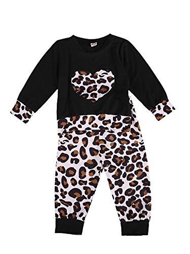 Bebé Recién Nacido 2 Piezas Conjunto Top Camiseta de Manga Larga + Pantalones Largos Traje de Ropa Deportiva Chándal con Estampado de Leopardo para Niños Pequeñas (Negro, 6-12 Meses)