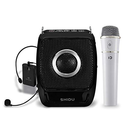 Draagbare spraakversterker, Bluetooth 4.0 oplaadbare PA-systeem luidspreker met UHF compacte handheld draadloze microfoon en headset voor karaoke, leraars, reisladder, trainer, yoga (25 watt)