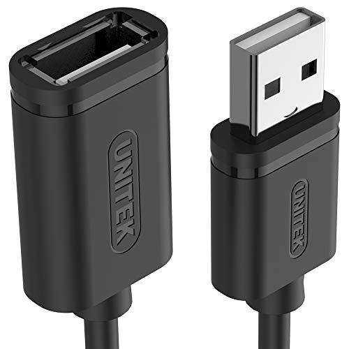 UNITEK, Y-C447GBK, USB 2.0 A-stekker op USB A-aansluiting, verlengkabel, 0,5 meter, kleur zwart, verlenging voor printer, toetsenbord, kaartlezer etc.