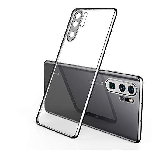 Coque Compatible Huawei P40 pro Souple TPU Gel Silicone Crystal Transparente Fleur Motif Ultra Mince Anti Choc Protection Étui Housse Huawei P40 pro (noir)