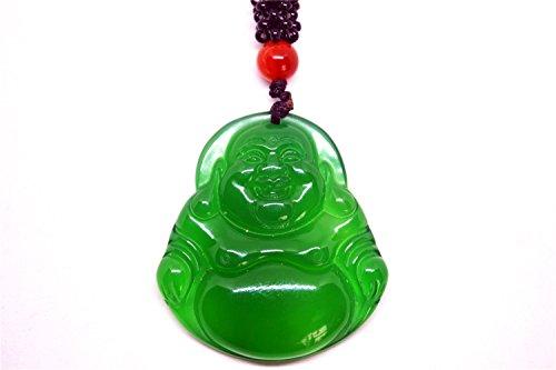 Verde Jade Buda Colgante Collar De Cuerda