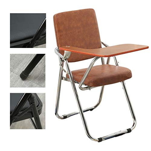 Président Klappstühle Folding Ausbildung Stuhl Meeting Stuhl Mit Schreibplatte Netz-Bürostuhl Padded Breathable Bequemer Bürostuhl (Color : Brown, Size : 53 * 46 * 86cm)