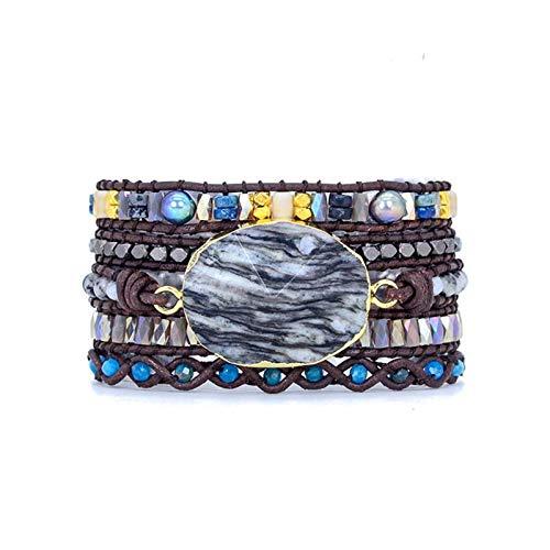 DERFX Unique Wrap Bracelet Weave 5 Layers Leather Wrap Boho Stone Wrap Bracelets Accessories