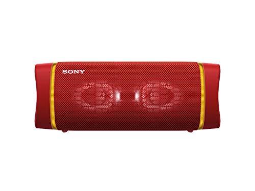 Sony SRS-XB33 tragbarer, kabelloser Bluetooth Lautsprecher (Mehrfarbige Lichtleiste, Lautsprecherbeleuchtung, wasserabweisend, Extra Bass), rot