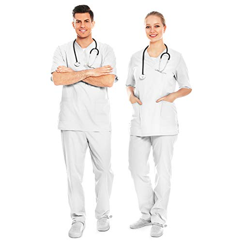 AIESI® Uniforme Sanitario Hombre Mujer de algodón 100% sanforizado Pantalones y Casaca con Cuello en V # Talla XXXL Blanco