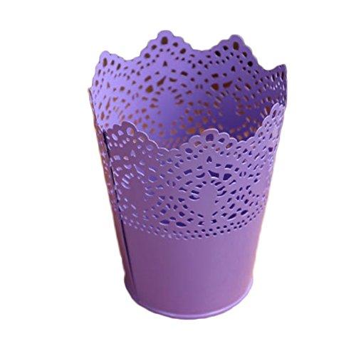 Outflower Pot de fleurs coloré en fer pour décoration d'intérieur Blanc 12.5*7cm pourpre