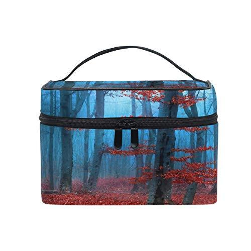 Bolsa de maquillaje, diseño de hojas de bosque de árboles, estuche de viaje portátil con impresión grande, organizador de bolsas para niñas y mujeres