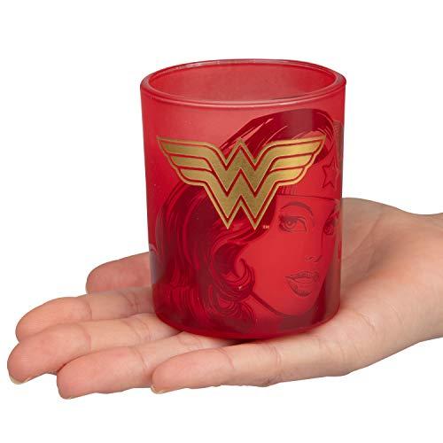 Product Image 4: Insight Editions DC Comics Justice League Glass Votive Candles – Set of 4 – Superman, Wonder Woman, Flash, Batman – Unscented – 3 oz Each