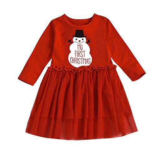 Toddler Kids Baby Girl Christmas One-Piece Dress Xmas Tree Outfit Tutu Skirt Clothes