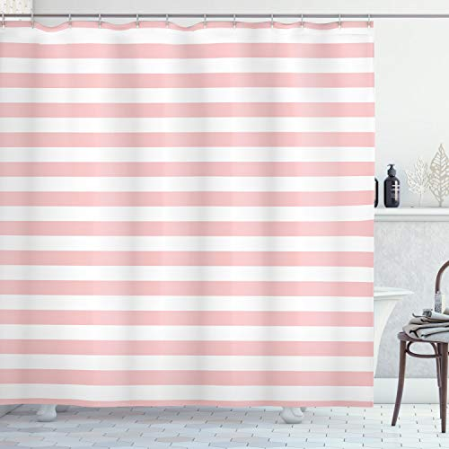 "Lunarable Blush Shower Curtain, Retro Style Pastel Colored Pink Stripes on White Background Vintage Geometric Design, Cloth Fabric Bathroom Decor Set with Hooks, 70"" Long, White Rose"
