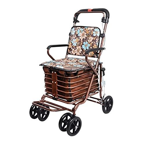 FHISD Chariots de Courses Petits Chariots Chariots Sièges poussables Marcheurs Pliables Personnes âgées Scooters à Quatre Roues Personnes âgées Cadeaux pour la Famille