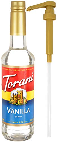 Torani Vanilla Coffee Syrup Flavoring, 750 mL Bottle with By The Cup Coffee Syrup Pump