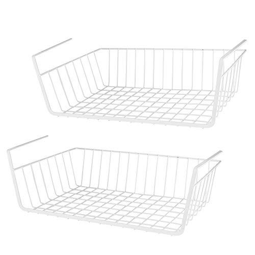 LOTTS Cesta de almacenamiento debajo de la estantería (36,7 x 25,2 x 9,2 cm), alambre de metal, organizador para cocina, oficina, despensa, cuarto de baño, armario (2 unidades, color blanco)