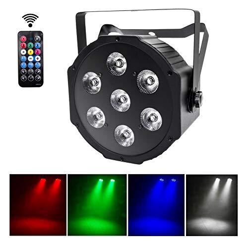 UKing LED Par Lichter 7 LED DMX Strahler RGBW Disko Licht mit Wireless Fernbedienung 8 Modi Disco lichteffekte für DJ Bar Hochzeit Weihnachten Halloween Partylicht