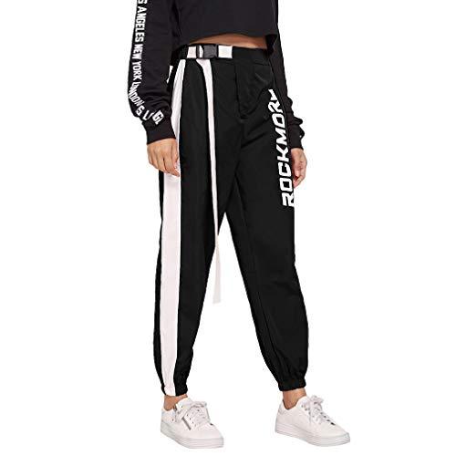 Damen Hosen Harajuku Hip Hop Hosen Streetwear Frauen Street Style Hosen gespleißt hohe Taille Sport Hosen