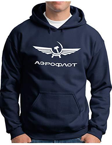 OM3® Aeroflot Hoodie | Herren | Retro Logo Russian Airline USSR Soviet Union | Kapuzen-Pullover Navy, L