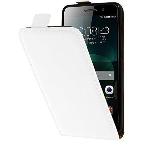 PhoneNatic Kunst-Lederhülle kompatibel mit Huawei Honor 4c - Flip-Hülle weiß + 2 Schutzfolien